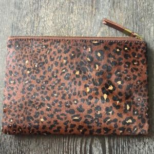 Madewell the leather pouch clutch painted leopard